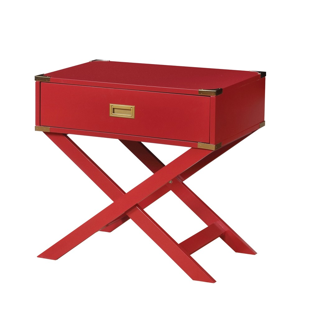 Danner Contemporary Gold Corner Accent Side Table Red - Homes: Inside + Out