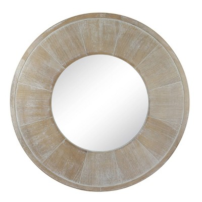 "27"" Round Rustic Mirror Whitewash - Stonebriar Collection"