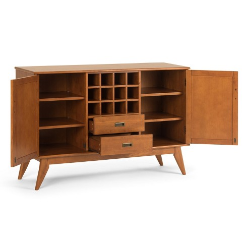 Tierney Solid Hardwood Mid Century Sideboard Buffet And Winerack