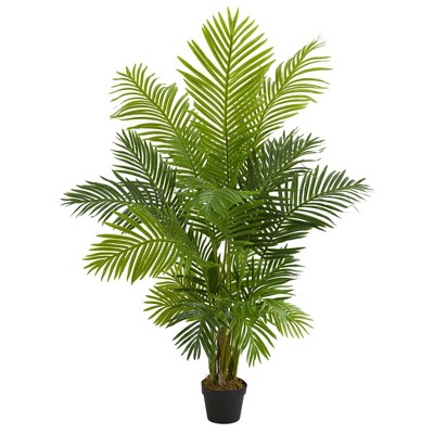 """60"""" Artificial Hawaii Palm Tree in Pot Black - Nearly Natural"""