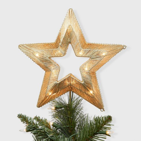 Christmas Tree Cut Out.Lit Coil Wrapped Star Christmas Tree Topper Gold Wondershop