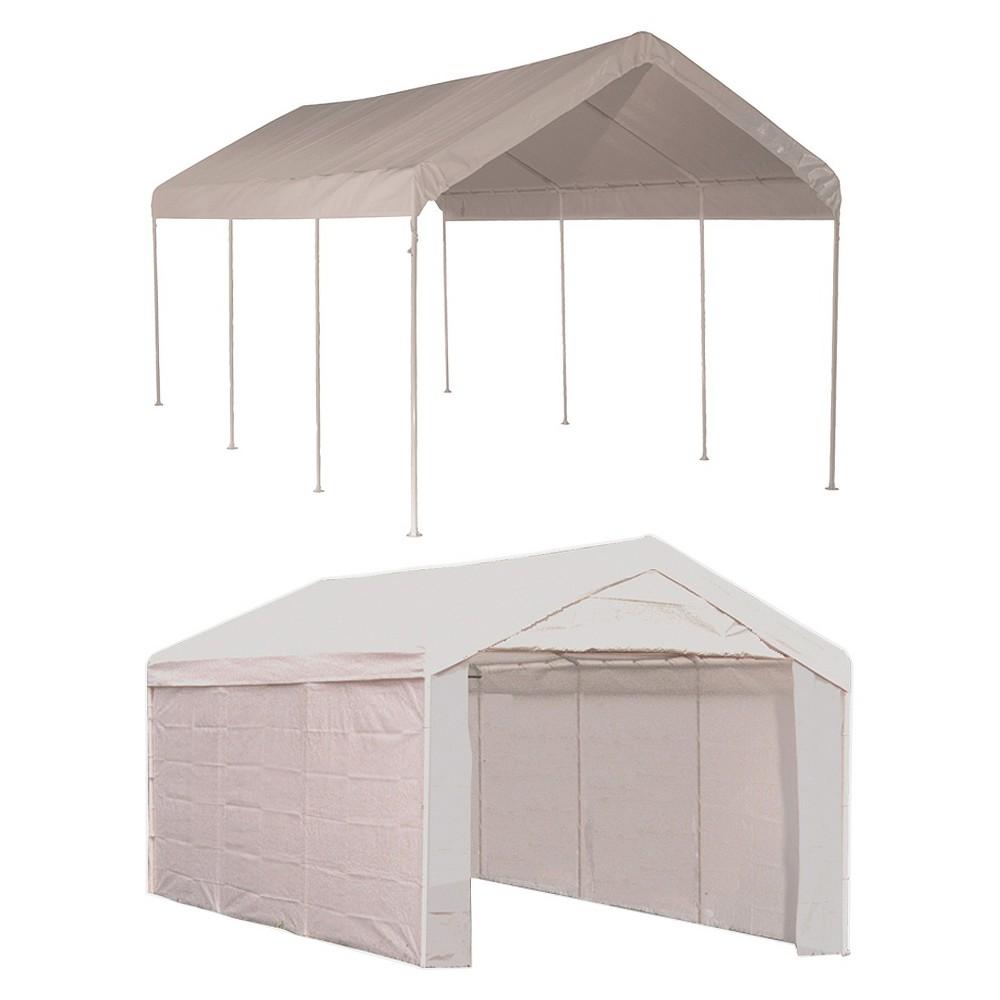 Shelter Logic 10x20 Canopy 1 3/8 8-Leg Frame Cover with Enclosure Kit, White