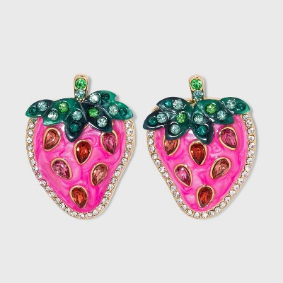 SUGARFIX by BaubleBar Crystal Strawberry Drop Earrings - Pink