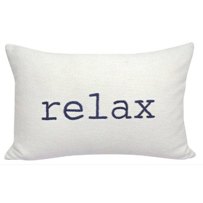 Relax Embroidered Lumbar Throw Pillow Cream/Navy - Threshold™