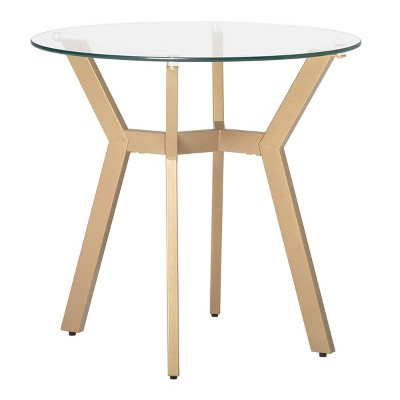 """24"""" Architect Round End Table Gold/Clear Glass - Studio Designs Home"""