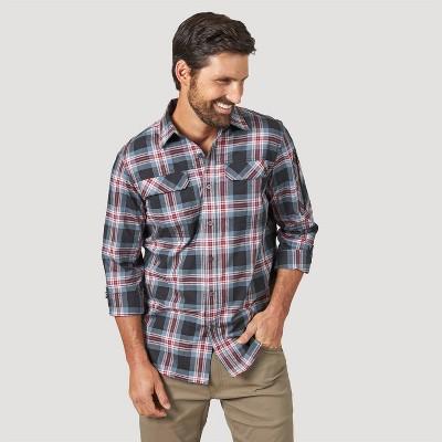 Wrangler Men's Plaid Button-Down Collared Shirt - Black S