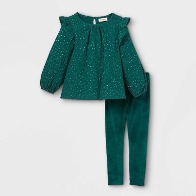 Toddler Girls' Sparkle Dot Long Sleeve Top & Velour Leggings Set - Cat & Jack™ Teal