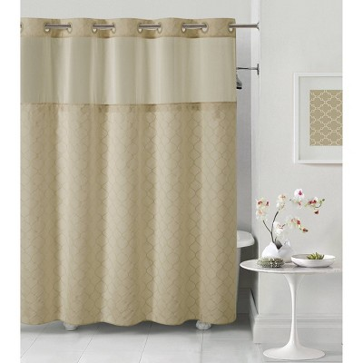 Mosaic Embroidery Shower Curtain with PEVA Liner Taupe - Hookless