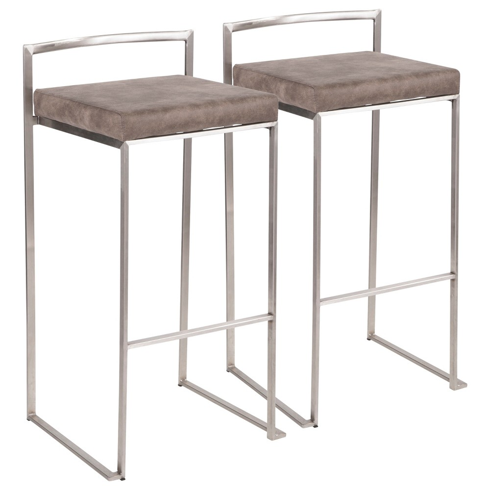 Fuji 30 In Contemporary Stackable Counter Stool Stainless Steel with Stone (Grey) Cowboy Fabric Cushion (Set of 2) - Lumisource