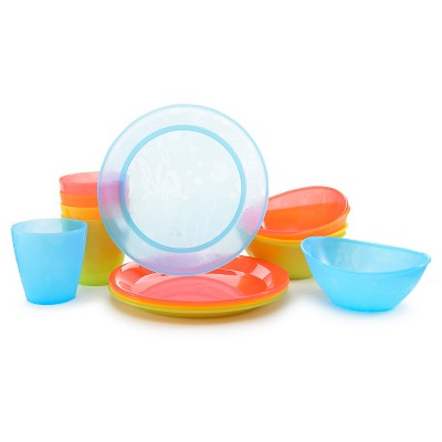 Munchkin 15pk Multi-Dining Toddler Cups, Bowls and Plates Set