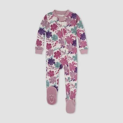 Burt's Bees Baby® Baby Girls' Floral Snug Fit Footed Pajama - Purple 3-6M