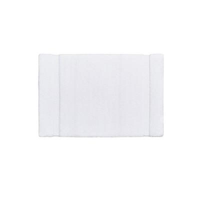 """20""""x30"""" Stria Border Striped Marshmallow Bath Rug White"""