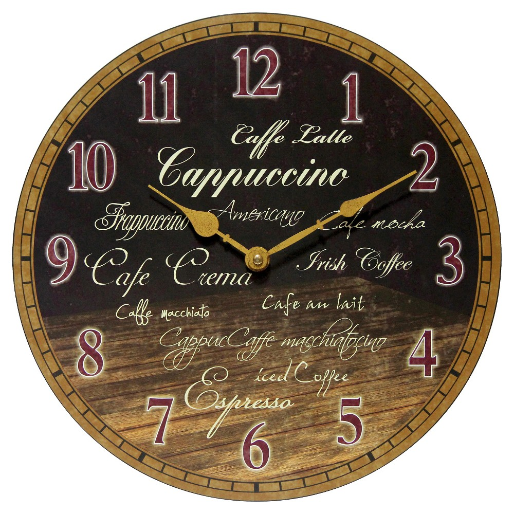 Morning Brew Decorative Wall Clock Brown - Infinity Instruments