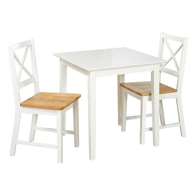 Cross Back Dining Set White 3 Piece   TMS