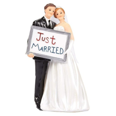 Juvale Bride Groom Figurines with Just Married Board Wedding Cake Topper, Wedding Party Decorations Gifts - image 1 of 4