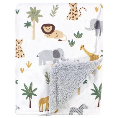 Hudson Baby Infant Boy Plush Blanket with Sherpa Back, Safari, One Size
