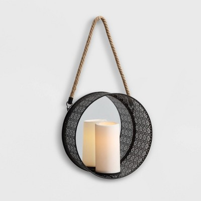 20  x 5  Round Mirror Pillar Candle Metal Sconce with Hanging Rope Black - Danya B.