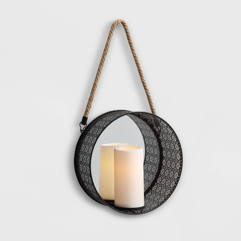 """Image of """"20"""""""" x 5"""""""" Round Mirror Pillar Candle Metal Sconce with Hanging Rope Black - Danya B."""""""