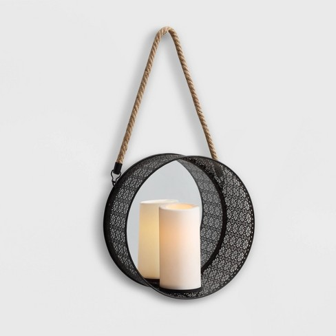 """20"""" x 5"""" Round Mirror Pillar Candle Metal Sconce with Hanging Rope Black - Danya B. - image 1 of 3"""