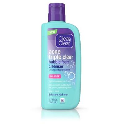 Facial Cleanser: Clean & Clear Acne Triple Clear Bubble Foam Cleanser
