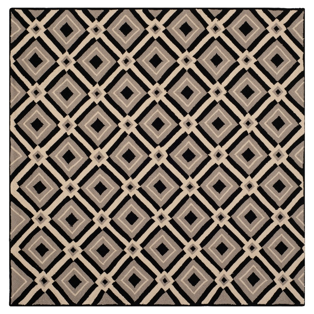 Black/Gray Abstract Hooked Square Area Rug - (6'x6') - Safavieh