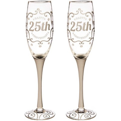 Evergreen 25th Anniversary Champagne Flutes, 8 ounces, Set of 2
