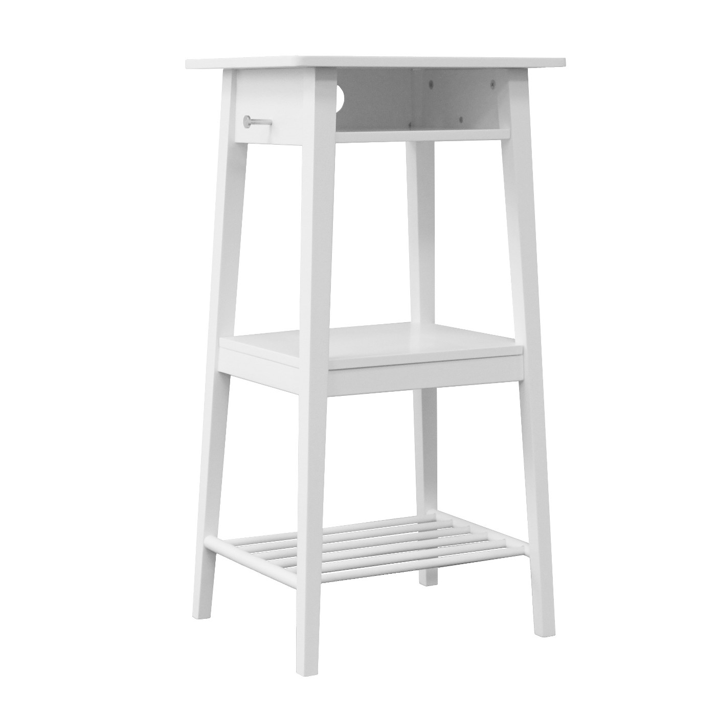 Room Essentials Standing Laptop Desk with Backpack Peg (White)