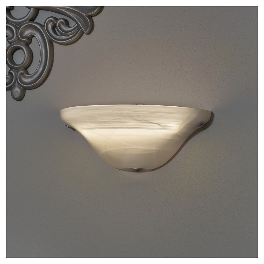Image of Battery-Operated Frosted Marble Glass Half Moon Sconce with remote