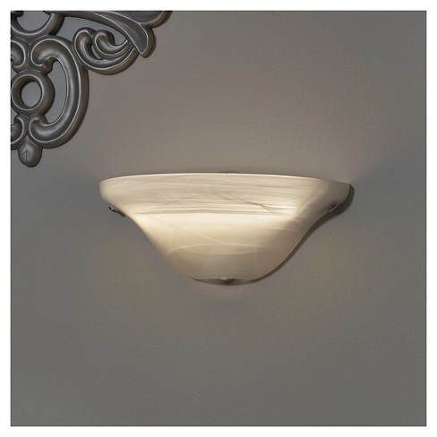 Battery-Operated Frosted Marble Glass Half Moon Sconce with remote - image 1 of 1