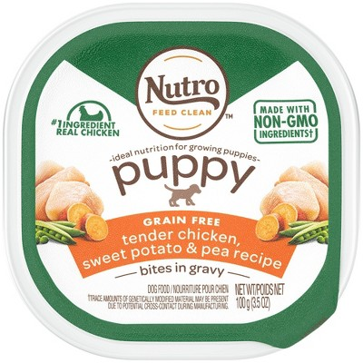 Nutro Grain Free Bites In Gravy Puppy Wet Dog Food Tender Chicken, Sweet Potato & Pea Recipe - 3.5oz
