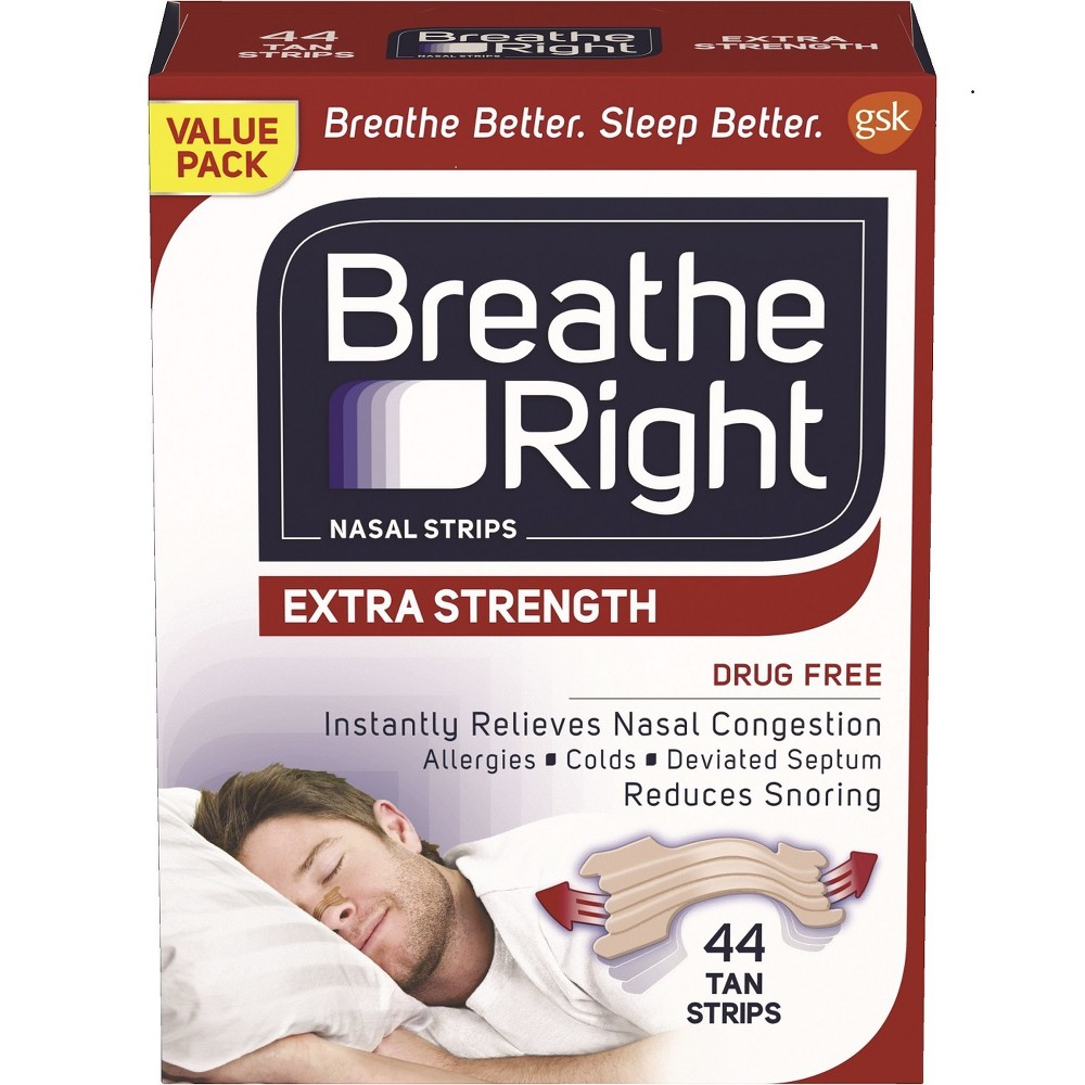 Breathe Right Extra Tan Drug-Free Nasal Strips for Congestion Relief - 44ct