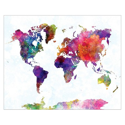 World Map II Watercolor Unframed Wall Art Print