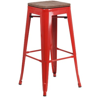 """Flash Furniture 30"""" High Backless Metal Barstool with Square Wood Seat"""