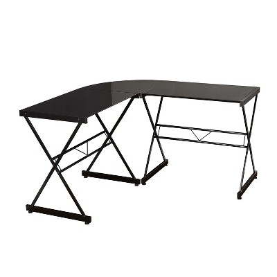 L Shaped Tempered Glass Desk - Buylateral