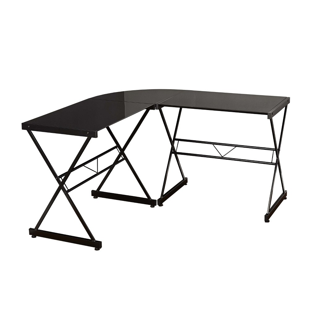 L Shape Tempered Glass Desk Black - Buylateral