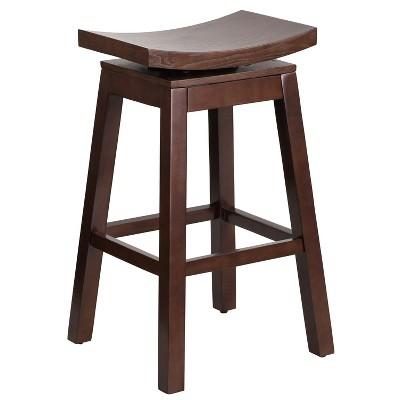 Flash Furniture 30'' High Saddle Seat Cappuccino Wood Barstool with Auto Swivel Seat Return