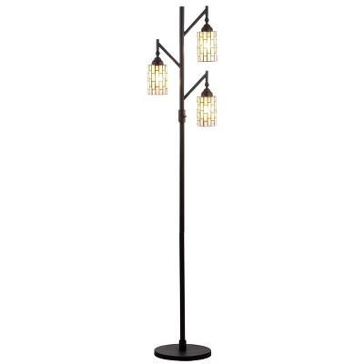"71"" Lewis Tiffany Multi Light Floor Lamp (Includes LED Light Bulb)Bronze - JONATHAN Y"