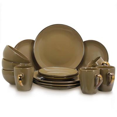 16pc Stoneware Solid Dinnerware Set Brown - Elama
