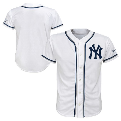 sports shoes f0fbc 8bc50 New York Yankees Boys' Short Sleeve Button-Down Jersey - White XL