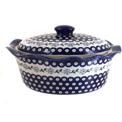 Blue Rose Polish Pottery Blue Violet Oval Baker with Lid