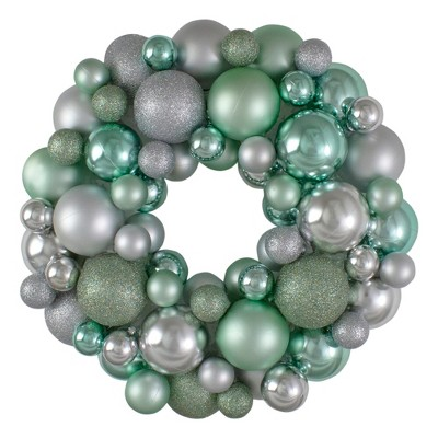 Northlight Silver and Seafoam Green 3-Finish Shatterproof Ball Christmas Wreath - 13-Inch, Unlit
