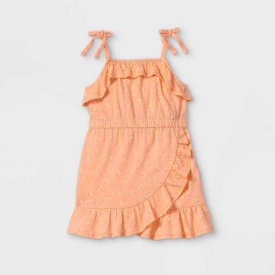 Toddler Girls' Floral Wrap Tank Ruffle Dress - art class™ Pink