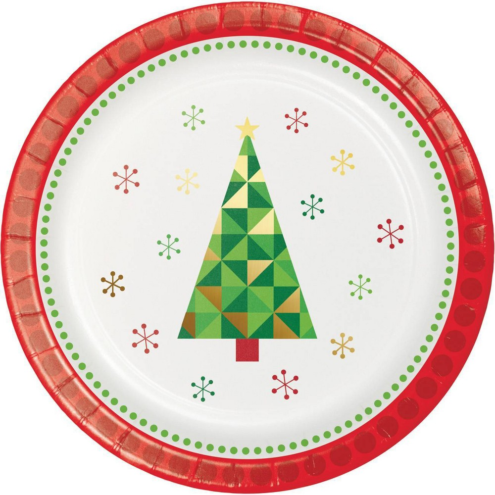 Image of 24ct Fractal Christmas Tree Dessert Plates, Green Red White