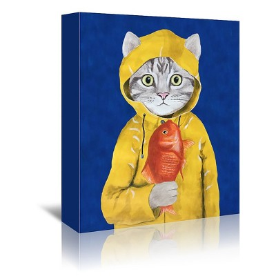 Americanflat Cat With Fish by Coco De Paris Wrapped Canvas