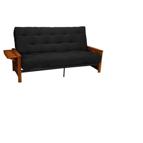 Brooklyn 8 Cottonfoam Futon Sofa Sleeper Walnut Wood Finish