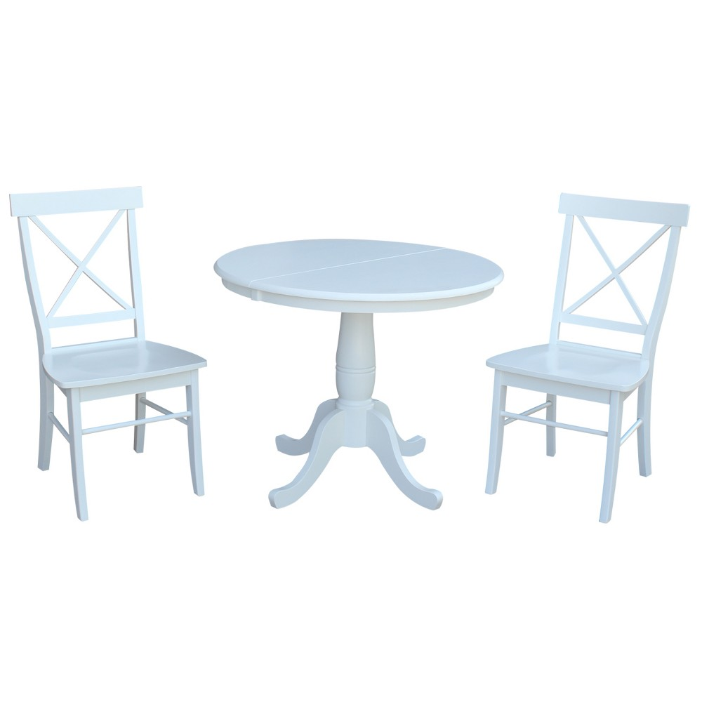 36 3pc Bella Round Extension Dining Table with 2 X Back Chairs Set White - International Concepts