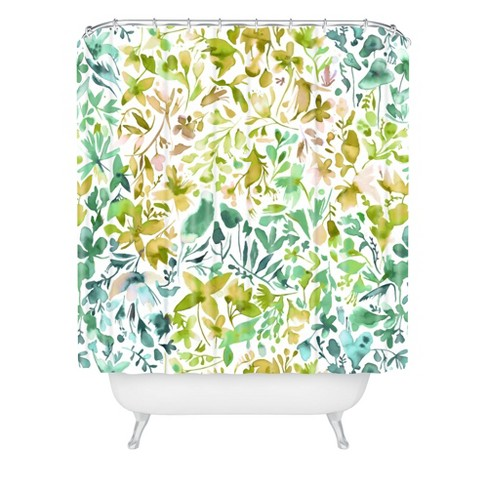 Green Flowers And Plants Ivy Shower Curtain