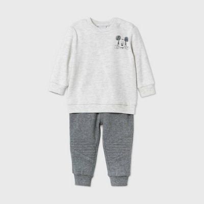 Baby Boys' 2pk Mickey Mouse Fleece Long Sleeve Top and Bottom Set - Oatmeal Gray 3-6M