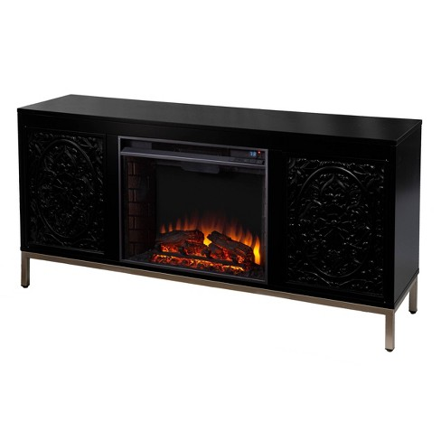 Yupayne Electric Fireplace Console With, Black Media Storage Tv Stand And Electric Fireplace