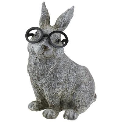 """Roman 11.25"""" Bunny Rabbit Spring Outdoor Patio Garden Planter - Gray"""